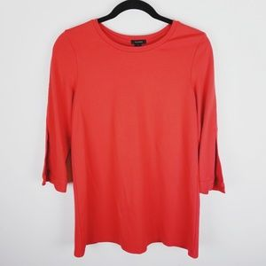 Halogen red split 3/4 sleeve tunic shirt small